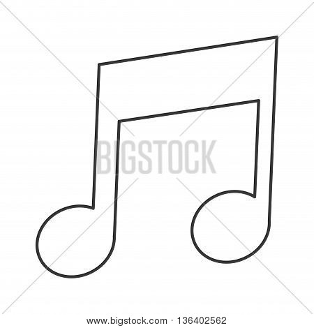simple black line eighth note icon vector illustration