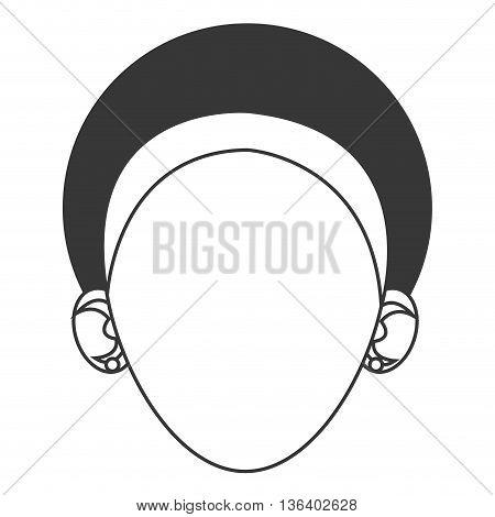 simple black line head of dark skinned woman with headband icon vector illustration