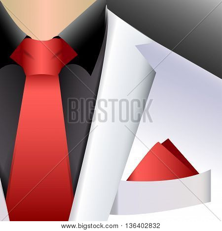 vector illustration white business suit with a red tie