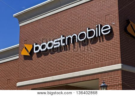 Indianapolis - Circa June 2016: Boost Mobile Cell Phone Retail Location. Boost Mobile is a Subsidiary of Sprint Corporation II