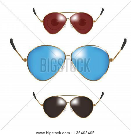 Classic sunglasses set. Summer eyeglasses. Retro fashion collection. Summer vacation item. Semi transparent sunglasses for tropical trip. Vector illustration.