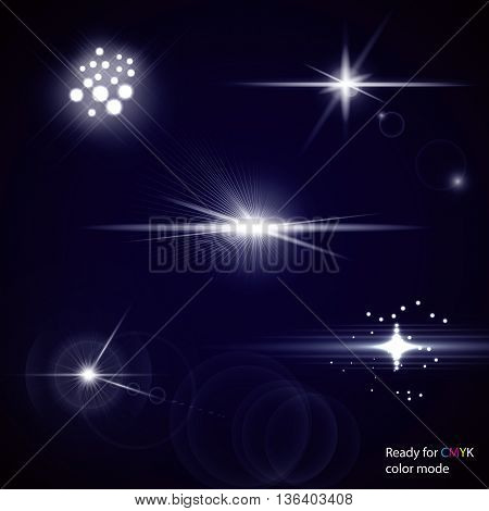 Set of transparent stars and sparkles elements ready for any background with screen or add blending modes. Vector illustration CMYK color mode