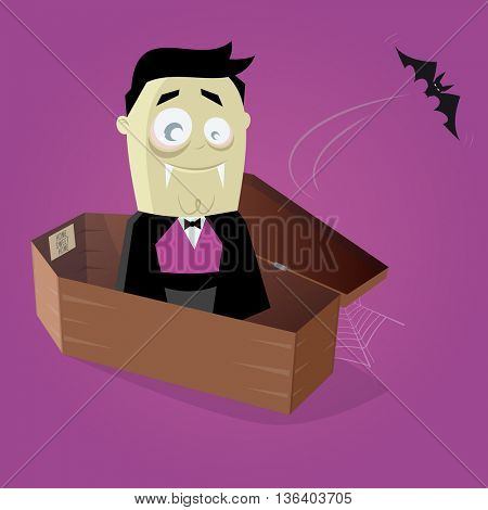 funny comic vampire in a coffin