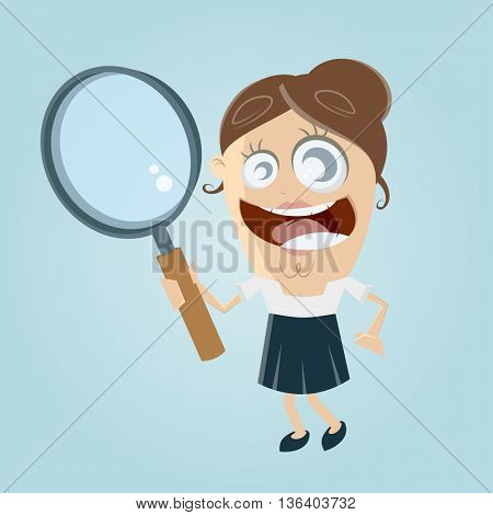funny businesswoman with magnifying glass