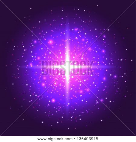vector illustration bright background with purple stars