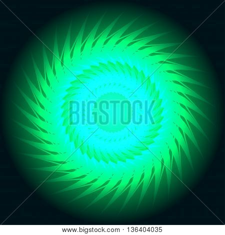vector illustration of abstract green neon spiral