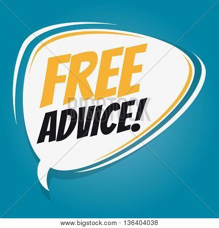 free advice retro speech bubble