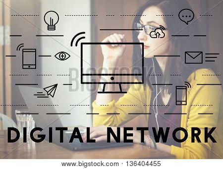 Digital Network Communication Connection Technology Concept