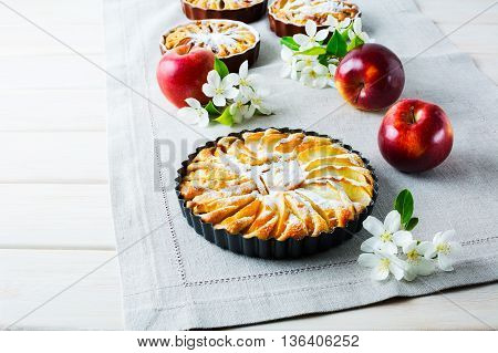 Sweet apple pie with apple blossom. Homemade sweet apple slices pie on linen napkin with ripe apples and spring flowers.