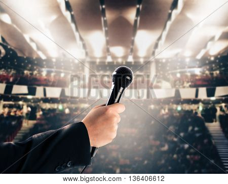 Microphone in a theater with public in the stalls