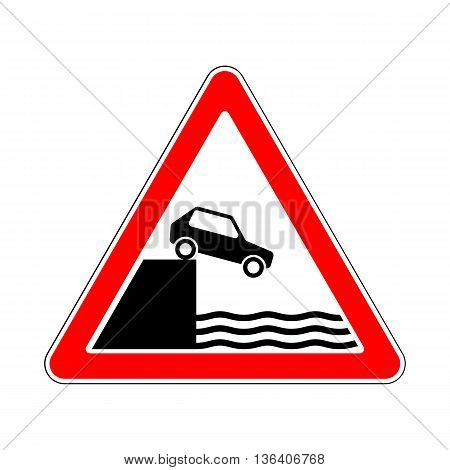 Illustration of Triangle Warning Traffic Signs. Unprotected Quayside or Riverbank