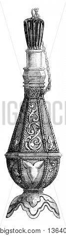 Moorish bottle in silver, vintage engraved illustration. Magasin Pittoresque 1852.