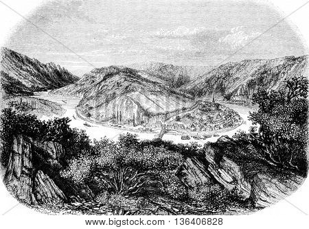 View of Montherme, vintage engraved illustration. Magasin Pittoresque 1852.