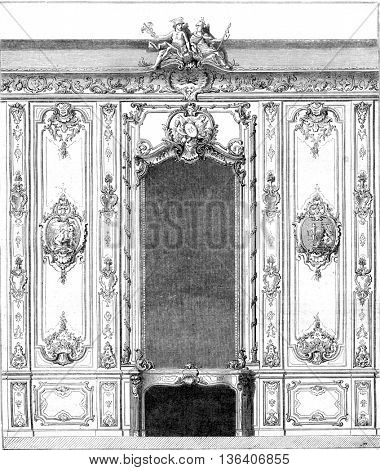 Interior panel of Rohan hotel specimen decoration of the time of Louis XV, by Boffrand, vintage engraved illustration. Magasin Pittoresque 1852.