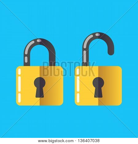 lock unlock icon vector password protected security Flat 2.0 design style.