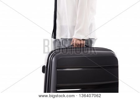 Woman holding black suitcase on white background isolated