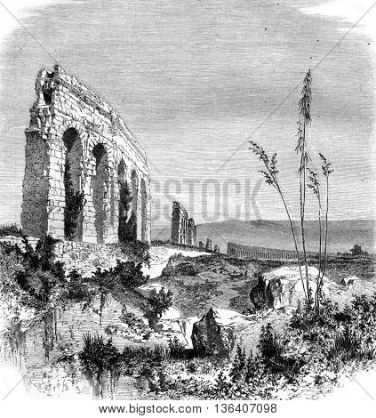Ruins of the Anio Novus, vintage engraved illustration. Magasin Pittoresque 1861.
