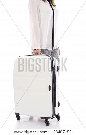 Asian woman holdig white suitcase on white background isolated