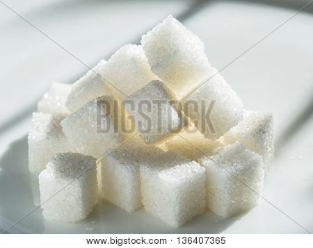 Close up shot of white refinery sugar.