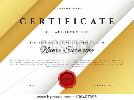 Template certificate design in gold color. Award certificate in flat style. Diploma frame awarding, with red sealing wax. Border background certificate. Premium certificate template
