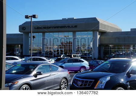 NAPERVILLE, ILLINOIS / UNITED STATES - NOVEMBER 3, 2015: One may purchase a new or used vehicle at Lexus of Naperville.