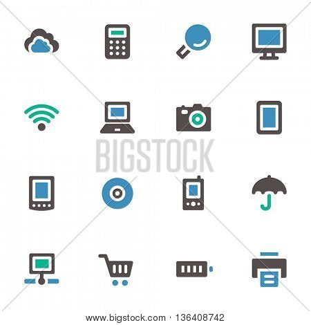 Cloud computing web icons set. Mobile screen symbols.