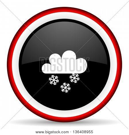 snowing round glossy icon, modern design web element