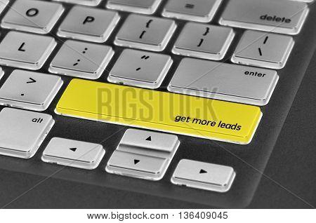 Keyboard  Button Written Word Get More Leads