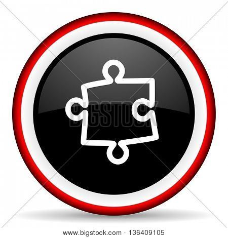 puzzle round glossy icon, modern design web element