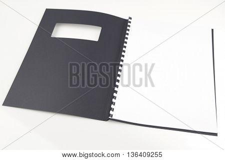 Open folder on plain background