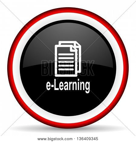 learning round glossy icon, modern design web element