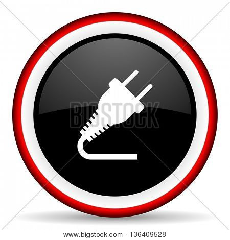 plug round glossy icon, modern design web element