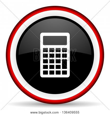 calculator round glossy icon, modern design web element