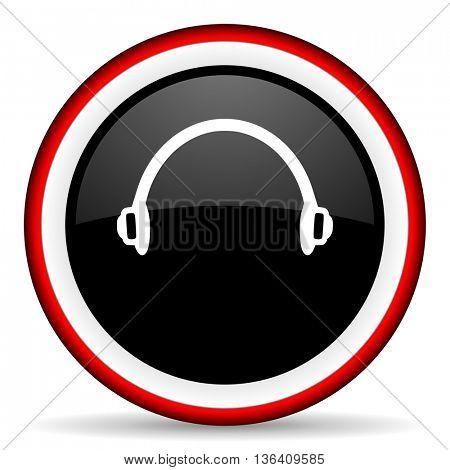 headphones round glossy icon, modern design web element