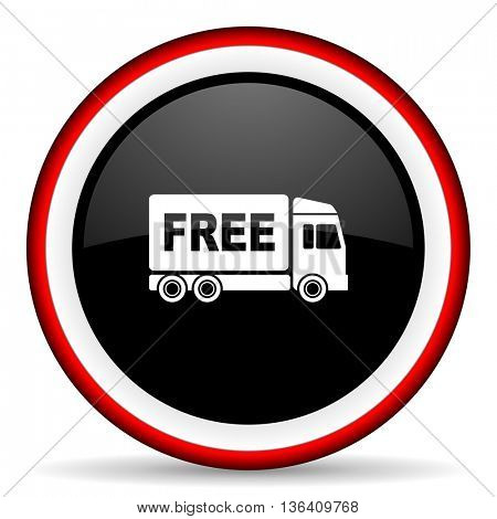 free delivery round glossy icon, modern design web element