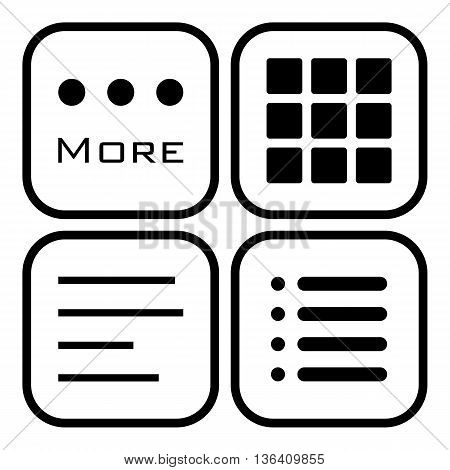 Hamburger menu icons set. . Vector symbols collection isolated on white background.