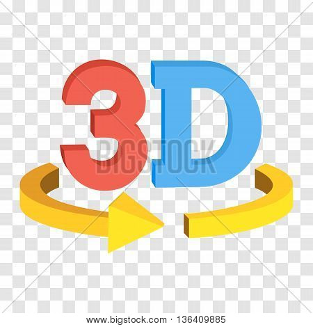3D rotate button sign icon in red and blue color on transparent background. Yellow horisontal rotation arrow. Vector illustration.