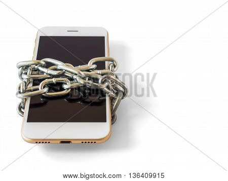 Modern mobile phone with chain locked isolate on white background with copy space and clipping path. Concept of social network issues forgot password information security robbery or piracy