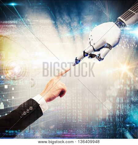 3D Rendering finger of man touches the finger of a robot