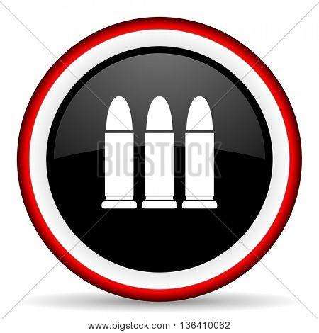 ammunition round glossy icon, modern design web element