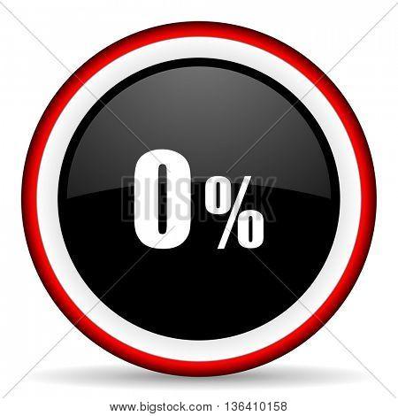 0 percent round glossy icon, modern design web element