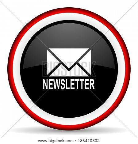 newsletter round glossy icon, modern design web element