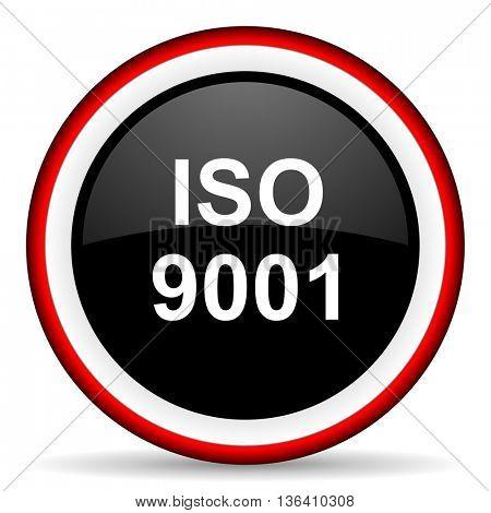 iso 9001 round glossy icon, modern design web element