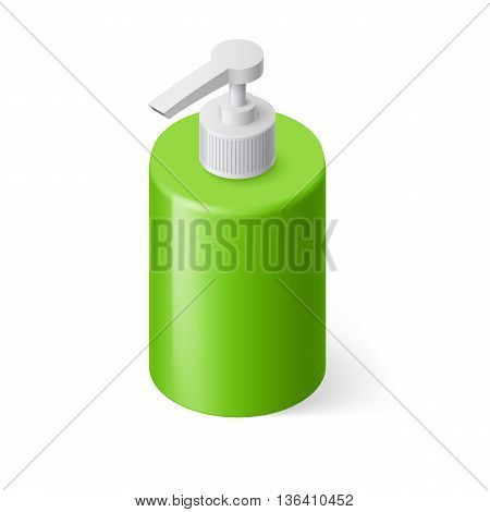 Isometric Green Bottle with Liquid Soap without Label
