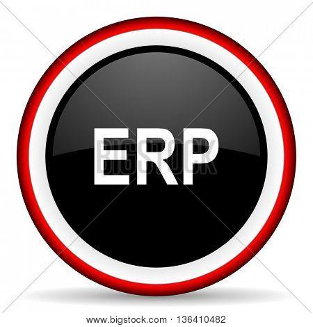 erp round glossy icon, modern design web element
