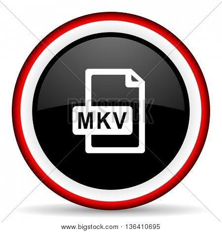 mkv file round glossy icon, modern design web element