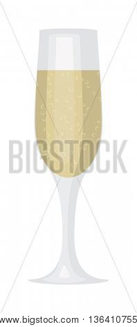 Glass of Champagne vector illustration.