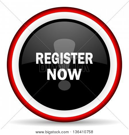 register now round glossy icon, modern design web element