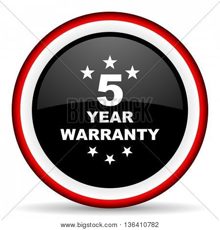warranty guarantee 5 year round glossy icon, modern design web element
