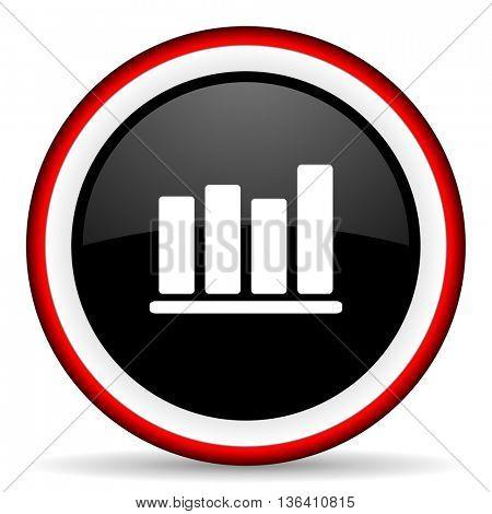bar chart round glossy icon, modern design web element